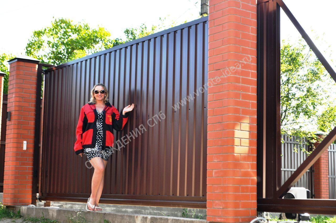 откатные ворота для дачи цена в санкт петербурге